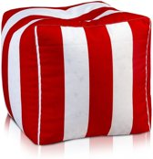 Kubus - poef - modern polyester - rood/ wit - 37cm x 37cm