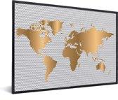 Wereldkaart Goud Golven Muur decoratie in lijst wit 60x40 cm