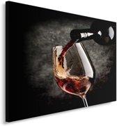 Schilderij  - Rode wijn, rood, zwart