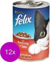 FELIX Brok in Saus - Rund en Kip - Kattenvoer - 12 x 370 g