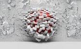 Fotobehang 3D, Muur | Rood, Wit | 312x219cm