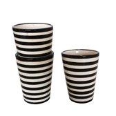 Keramieken mokken - zwart/wit gestreept  - handgemaakt - set van twee