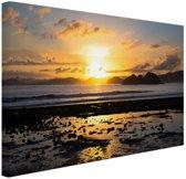 Zonsondergang in Azie  Canvas 30x20 cm - klein - Foto print op Canvas schilderij (Wanddecoratie woonkamer / slaapkamer)