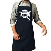 Chef kok barbeque schort / keukenschort navy blauw voor heren - bbq schorten