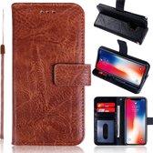 H.K. Leer boekhoesje bruin geschikt voor Apple Iphone 5/5S/5SE