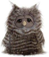 Pluche grijze uil vogel knuffel 28 cm - Uilen bosdieren knuffels - Speelgoed voor peuters/kinderen