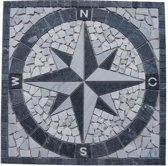 Marmer mozaiek tegel medallion windroos grijs 60 x 60 cm