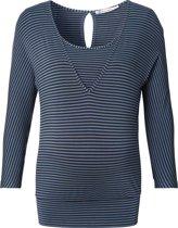 Queen Mum Zwangerschaps-t-shirt - Blue stripe - Maat M