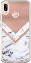 Huawei P20 Lite siliconen hoesje - Rose gold marble