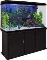 Aquarium Fish Tank & Cabinet with Complete Starter Kit - Black Tank & White Gravel