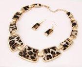 Fashionidea – Luxueuze goudkleurige sieraden set met bijpassende oorbellen en panterprint