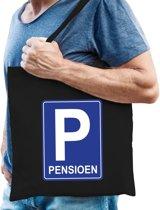 Pensioen katoenen cadeau tas zwart voor heren - Pensioen / VUT kado shirt