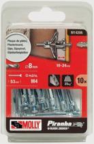 Molly Metalen Hollewand plug met schroef 8x46mm 10stuks M14206