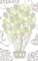 Lemon & Pale Green Hot Air Balloon - Lined Notebook with Margins - 5x8