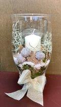 Kerst decoratie kaars met glas
