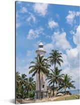 De vuurtoren bij het Sri Lankaanse Fort Galle in Azië Aluminium 80x120 cm - Foto print op Aluminium (metaal wanddecoratie)