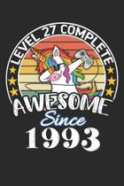 Level 27 complete awesome since 1993: funny dabbing unicorn retro vintage 27th Gamer Birthday Gift notebook / journal gaming lovers gift