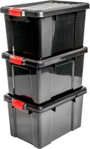 IRIS Powerbox Opbergbox - 50L - Kunststof - Zwart/Rood - 3 Stuks
