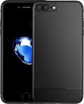 Luxe Carbon case voor Apple iPhone 7 - iPhone 8 - hoogwaardig zacht TPU soft cover -  Matte finish - Extra stevig zwart hoesje