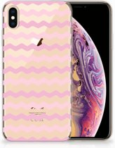 iPhone Xs Max  TPU-siliconen Hoesje Waves Roze