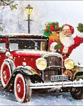 Kerst servetten Santa automobile