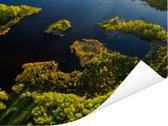 Luchtfoto van de bossen en wateren in het Nationaal park Gauja Poster 80x60 cm - Foto print op Poster (wanddecoratie woonkamer / slaapkamer)