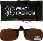 Fako Fashion® - Clip On Voorzet Zonnebril - Polarized - 134x43mm - Bruin