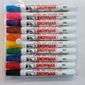 Snowman BG-10 whiteboard markers, Assorti á 10 stuks.