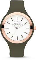 Colori Macaron 5 COL502 Horloge - Siliconen Band - Ø 44 mm - Olijf Groen