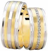 Bicolor trouwringen met 0.37 ct. diamanten