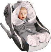 Wallaboo Babydeken Leaf  - Wikkeldeken voor in Autostoel en kinderwagen - Zacht Suéde en 100% katoen - 85 * 85 cm - Grijs