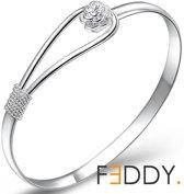 Armband romantisch met roos zilver