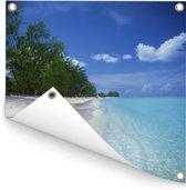 Het bekende Seven Mile Beach langs helderblauw water in Grand Cayman Tuinposter 200x200 cm - Tuindoek / Buitencanvas / Schilderijen voor buiten (tuin decoratie) XXL / Groot formaat!