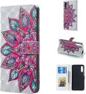 Let op type!! Half bloem patroon 3D horizontale Flip lederen case voor Galaxy A50  met houder & card slots & fotolijst & portemonnee
