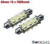 Led-buislampen 42mm 12x 3528smd Warm-wit 10-30v