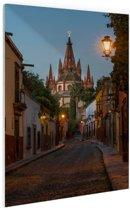 Avond in Mexicaanse stad Glas 20x30 cm - klein - Foto print op Glas (Plexiglas wanddecoratie)