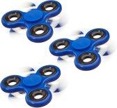 relaxdays 3 x Fidget Spinner - tri-spinner 58g hand spinner - anti-stress speelgoed blauw