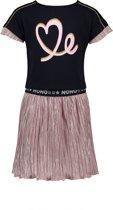 NONO Meisjes Combi jurkje Mary met geplisseerd rokje - Licht roze - Maat 122/128
