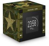Wekkerradio met tijdprojectie in legerkleuren