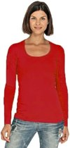 Bodyfit dames shirt met lange mouwen S rood