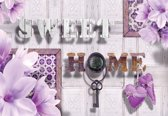 Fotobehang Sweet Home Flowers Purple | XXL - 312cm x 219cm | 130g/m2 Vlies
