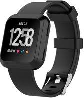 Siliconen bandje voor Fitbit Versa met gespsluiting - KELERINO - Large - Zwart