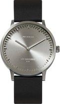LEFF amsterdam - Horloge - Tube Watch T40 - Staal met Zwart leren band - Ø 40mm - LT75111