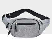 Pure kleur multifunctionele casual zakken waterdichte borst tas taille sport tas (grijs)