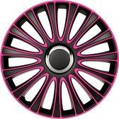 AutoStyle 4-Delige Wieldoppenset LeMans 14-inch zwart/roze