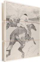 Le Jockey - Schilderij van Henri de Toulouse-Lautrec Vurenhout met planken 60x80 cm - Foto print op Hout (Wanddecoratie)