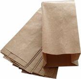 Bruine papieren zakjes met zijvouw 100 stuks - 13x8x26cm 1 pond / fruitzakken / kraft zakken