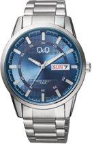 Q&Q heren horloge met blauwe wijzerplaat en dag/datum aanduiding A208J212
