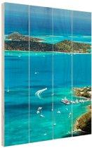 Caribische haven Hout 80x120 cm - Foto print op Hout (Wanddecoratie)