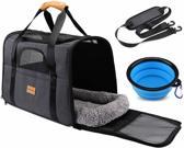 Rexa® Huisdiertas Grijs/Zwart Reis tas schoudertas voor honden en katten | huisdier kat vervoer | kattentas hondendraagtas transport meenemen vakantie | hondendrager reistas | carrier